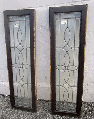"Pair Of Solid Oak Antique All Beveled Glass W/jewels 54"" Side-Lites Estate # 620"