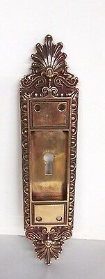 Fancy Antique Victorian Polished Brass/bronze French Pocket Door Plate # 23