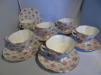 Hammersley 2348 Chintz Pattern Cups and Saucer (6)