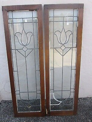 "Great Size Nice Pair Of Antique Beveled & Flat Glass 53"" Side-Lites Estate # 613"