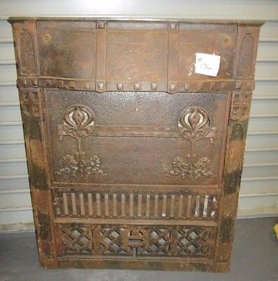 Beautiful Complete W/cover Antique Arts & Crafts Iron Fireplace Surround # 136