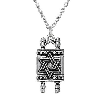 Jewish Necklace Hebrew Sefer Torah Scroll Religious Pendant Star Of David