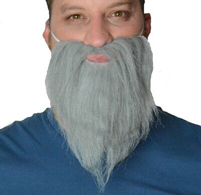 Grey Beard, Realistic Hair. Fancy Dress Pirate, Viking, Wizard, Hippy, Panto Uk