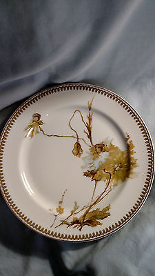 Haviland Limoges Dinner Plate - Brown, Green, Blue Flower with Buds