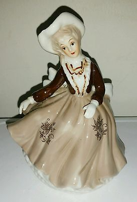 Vintage Porcelain Lady Floral Bowtie Brown Dress with Gloves