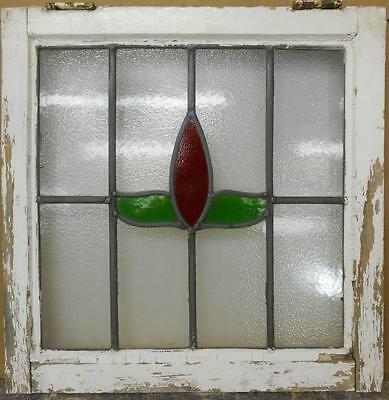 "OLD ENGLISH LEADED STAINED GLASS WINDOW Sweet Floral 20.25"" x 20.5"""