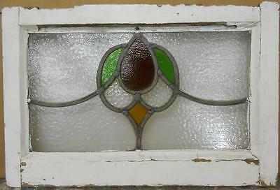 "MID SIZED OLD ENGLISH LEADED STAINED GLASS WINDOW Pretty Abstract 23"" x 15.25"""