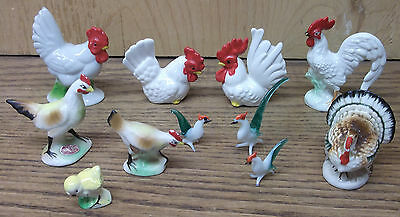 11 vtg Rooster Hen Chicken Turkey miniature Figurine lot Porcelain China Glass