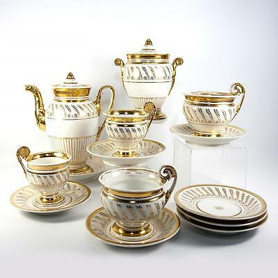Antique French Old Paris Porcelain French Empire Era Tea & Chocolate Set, 14pc +