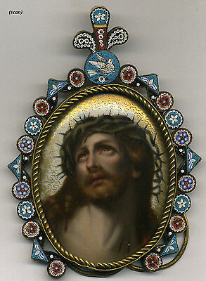 """Antique Italian 5.5"""" Micro Mosaic Frame with Painting of Christ on Porcelain"""