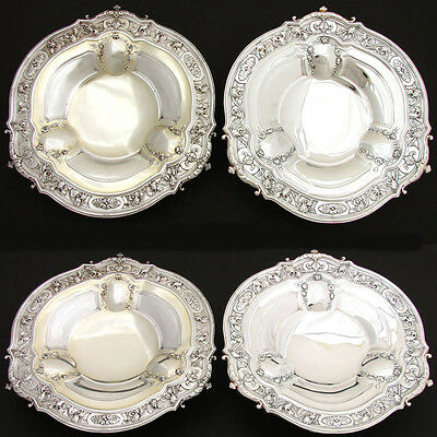 """PAIR:  Antique French Sterling Silver 9.5"""" Serving Dish, Matching 9.5"""" SP Dish"""