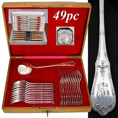 Antique French Sterling Silver 48pc Dinner Flatware Set, Elegant Louis XVI Style