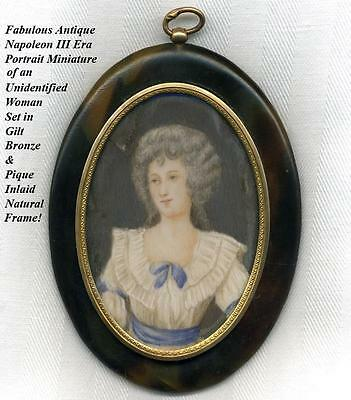 Lovely Antique French Portrait Miniature, Pique Inlay Faux Tortoise Shell Frame