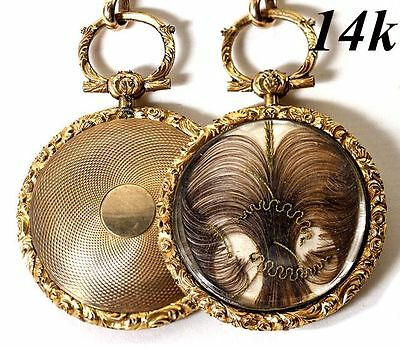 Antique Georgian to Victorian Era 14k Gold Pocket Watch Style Mourning Locket