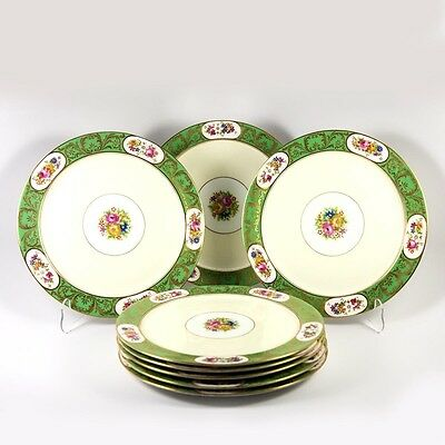 Tiffany Plate Set of 8 Antique English China Plates c.1910, Floral, Green & Gold