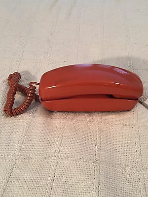 Vintage Orange Western Electric Trimline Princess Push Button Phone At&t