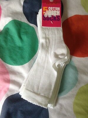 Bn M&s Girls White Cotton Rich Socks X 5, 7-10 Years, Size 12.5 - 3.5, 31-36 Eur