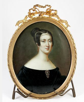Large Antique French Portrait Miniature, Bow-Top Frame, Woman with Jewelry