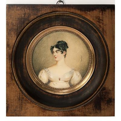 Antique French Portrait Miniature of a Beautiful Woman, Empire Gown, Jewelry