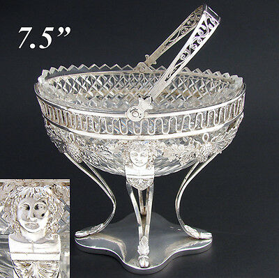 Fabulous Antique Figural Continental Sterling Silver & Crystal Bonbon Basket