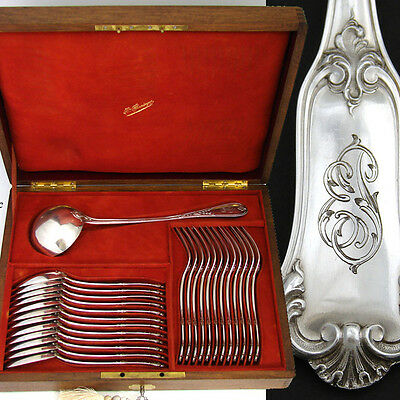 Lovely Antique French PUIFORCAT Hallmarked Silver 25pc Flatware Set & Chest