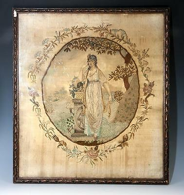 Antique Georgian English Silk Work Embroidery Tapestry in Frame, Tomb, Symbolism