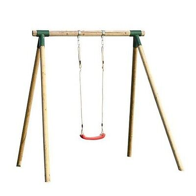 Wooden Childrens Swing Single Seat Outdoor Garden Play Set Round Pole Wood Frame