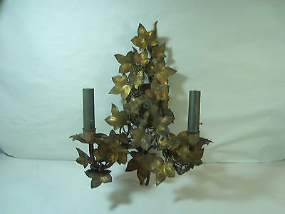 Vintage Wall Sconce Gold Tone  Hollywood Regency? 2 lights Pull Chain