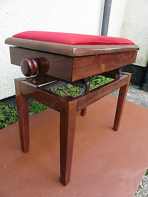 Mahogany Piano Stool Adjustable Height Seat, Very Strong Solid Stool, Clean..