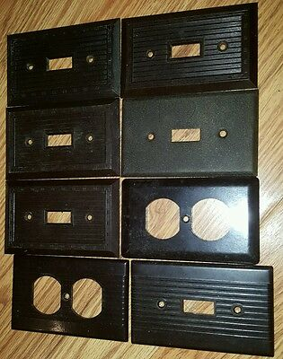 7 Vintage Early Brown Bakelite Ribbed Light Switch Outlet Plate Cove 1 metal