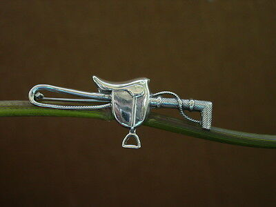Equestrian Sterling Silver Saddle Crop / Whip Pin Brooch English Horse Riding