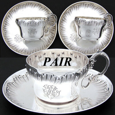PAIR Antique French Sterling Silver Demitasse Tea Cup & Saucer Set, Rococo, 4pc