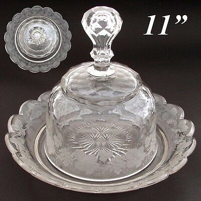 "LG Antique Intaglio Etched Crystal Cheese Dome & 11"" Under Tray, Grapes & Leaves"