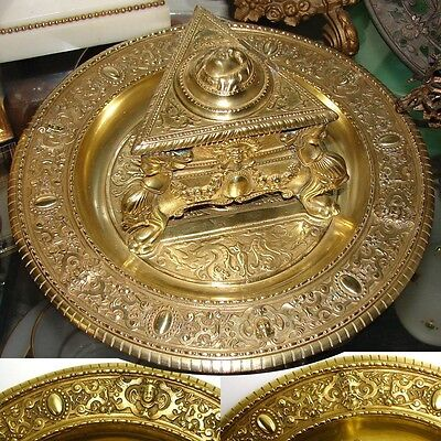 """Antique Victorian Era Gilt Bronze Inkwell, Figural Urn Style Well on 9"""" Base"""