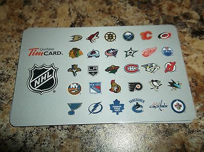 2015 NHL Hockey Reloadable TIM CARD - All Logos (Tim Hortons Canada)