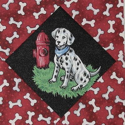 9 Adorable Dalmatians Quilt Top Blocks in Red - Firefighters Dogs Fire Trucks