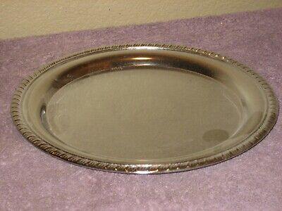 """Chrome Plated 10"""" Serving Tray Ornate Rim & Etched Design"""