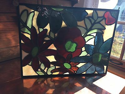 "Stained Glass Flowers Handmade 20.5"" x 15.5"""