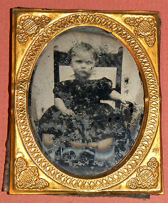 1881. Civil War Era Ambrotype Cute Blonde Toddler Girl in Frame Armchair Maine