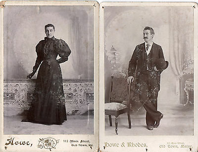 5243. (2) 1890s Cabinet Photos Ugly Husband Wife Old Town Maine ME Painted Drops