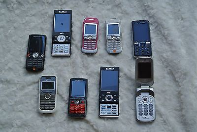 JOB LOT MOBILE PHONES SOME WORKING - UNTESTED (9 x Sony ericsson ) .0013