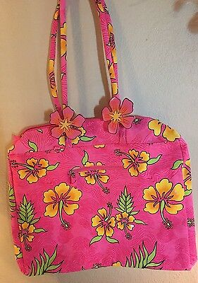 Tropical Hawaiian Hibiscus Flowers Pink Oversized Tote Bag By