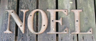 """Antique Cast Iron Sign Letters N O E L 8"""" From Tallahassee Florida Leon County"""