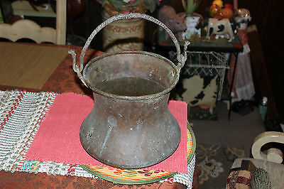 Antique Middle Eastern Arabic Copper Hanging Cauldron Kettle Country Decor