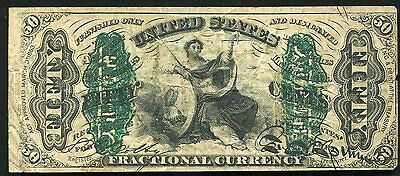 """50 Fifty Cents """"justice"""" Third Issue Fractional Currency Note"""