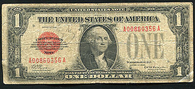 "1928 $1 One Dollar Red Seal ""puerto Rico"" Legal Tender United States Note"