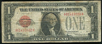 "1928 $1 One Dollar ""funnyback"" Red Seal United States Note Legal Tender"