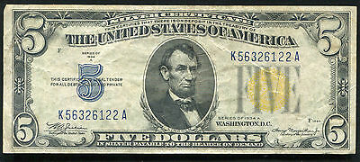 """1934-A $5 Five Dollars """"north Africa"""" Silver Certificate Extremely Fine"""