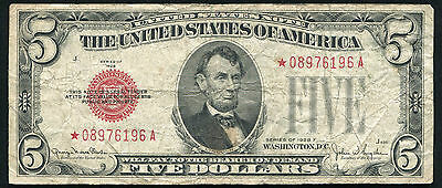1928-F $5 Five Dollars *star* Red Seal United States Note Scarce