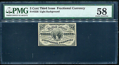 Fr. 1226 3 Cent Third Issue Fractional Currency Pmg About Uncirculated-58